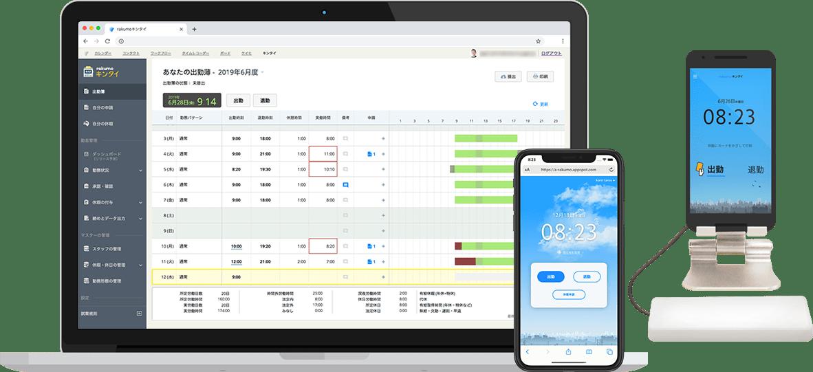 勤怠管理システム「rakumoキンタイ」のデスクトップ版、モバイル版、「ICカード打刻」アプリ