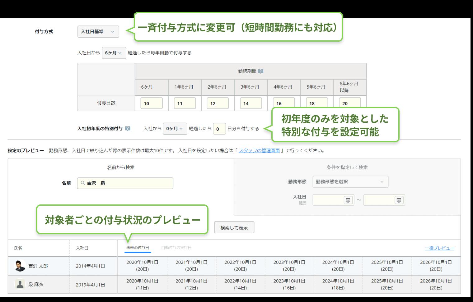 rakumo キンタイ 年休自動付与設定画面