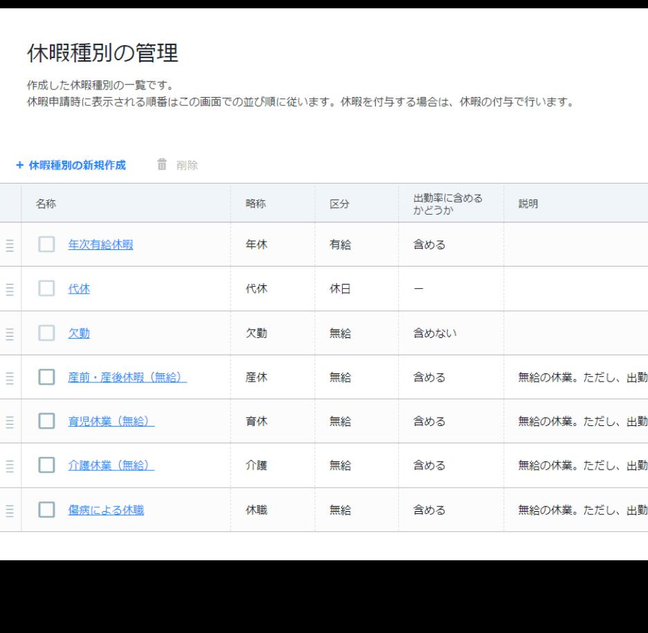 rakumo キンタイ 休暇種別の管理画面