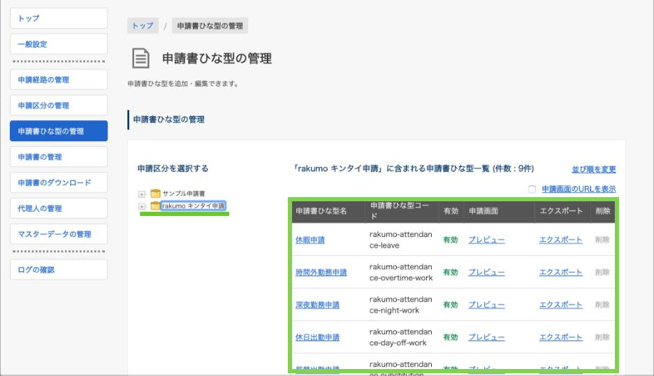 rakumo ワークフロー 運用管理者の申請書ひな型管理画面