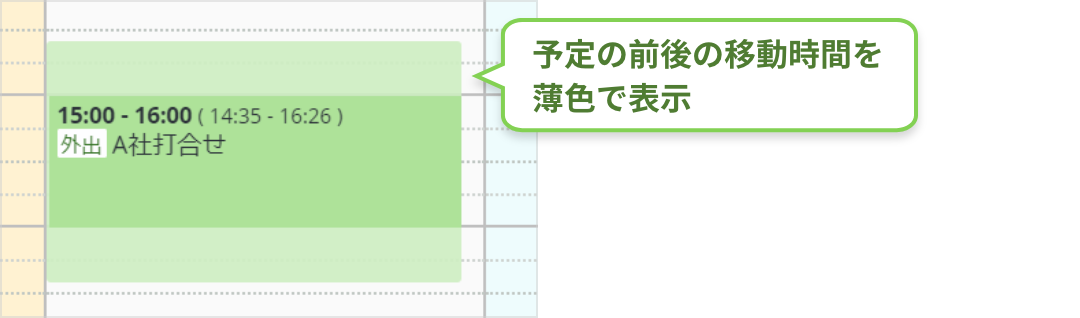 rakumo カレンダー 移動前後時間の自動ブロック表示