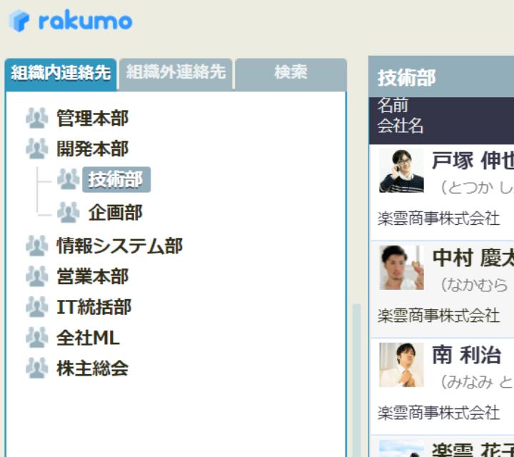rakumo コンタクト 階層ツリーとプロフィール写真表示画面