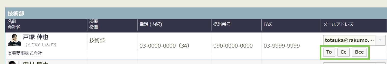 rakumo コンタクト メール宛先選択画面