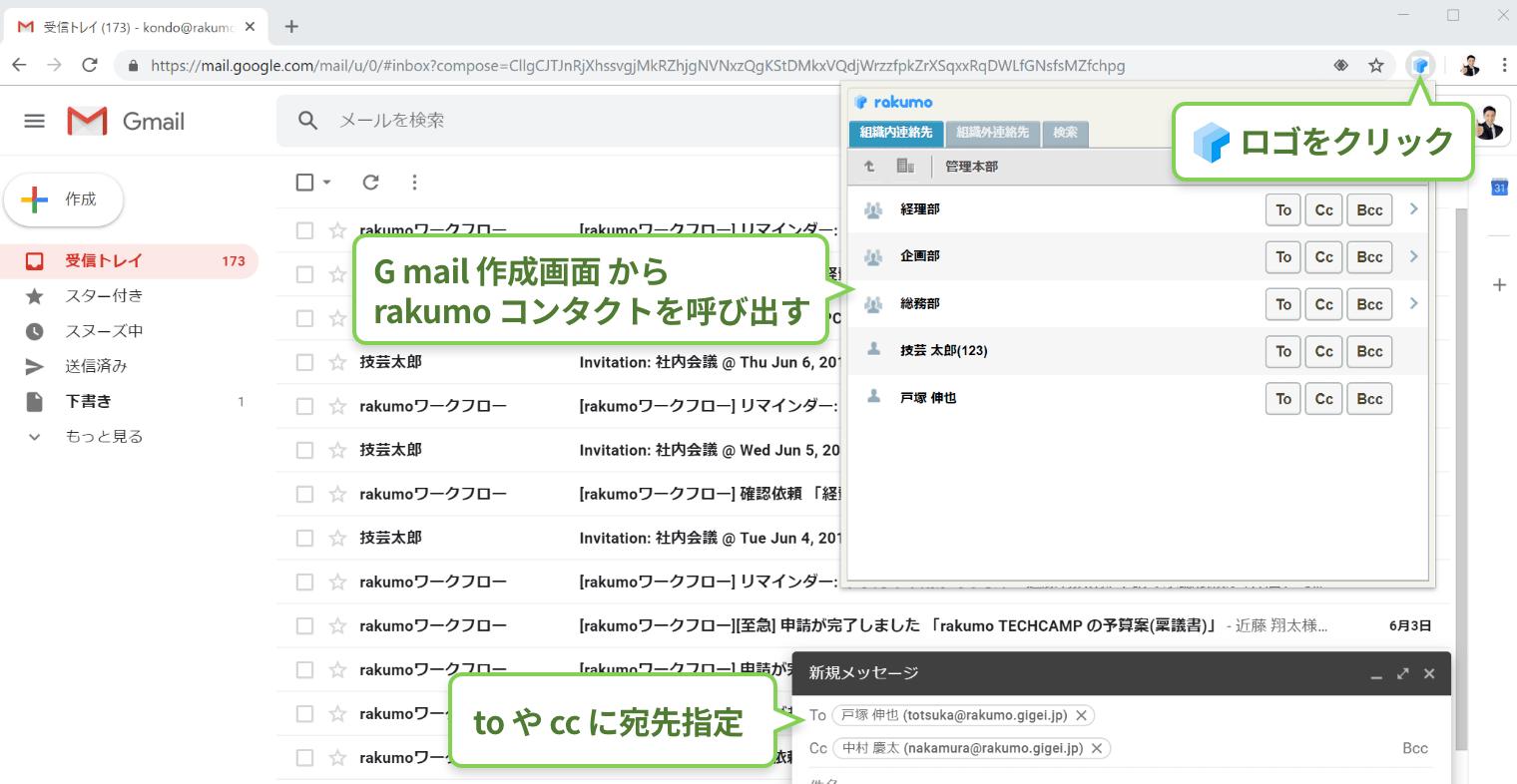 rakumo コンタクト 「rakumo エクステンション for Gmail」利用画面